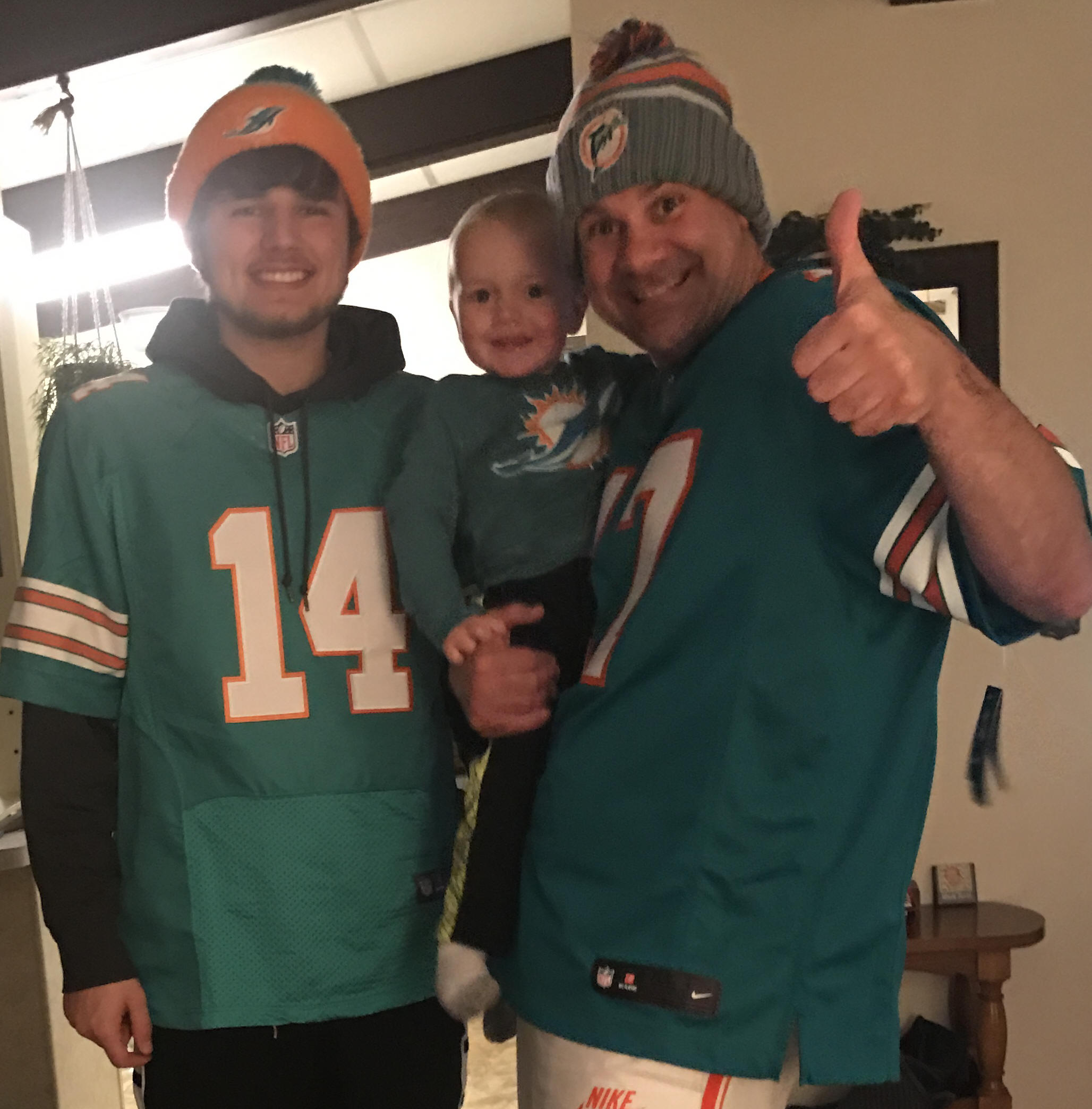 11-27-16 The nephews celebrate another Dolphin victory!