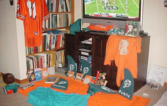 My living room shrine as it appeared after the FINS beat the hated Wets on MNF on 10-12-09!