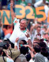 (11-14-93) Coach Shula gets carried off of the field after his record-setting win!